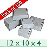 White Die-cut Postal Mailing Cardboard Boxes ~ 12 x 10 x 4/300mm x 250mm x 100mm by W E Roberts (Corrugated) Ltd