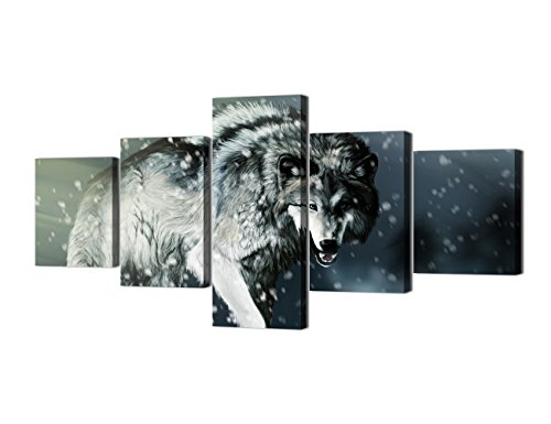 Wall Art Modern 5 Piece Wolf Ferocious Eyes Painting on Canvas Pictures for Living room Alone Horse Wasteland Giclee Artwork Stretched Frame Ready to Hang for Bedroom Wall(50''W x 24''H) - Wolf Horse