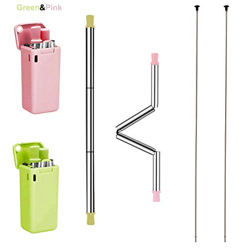 Measures Keychain Circle - Stainless Steel Collapsible Straws Keychain Professional Foldable Food Grade Drinking Straws Reusable Folding Straws Portable Set with Case Holder and Cleaning Brush&Key Chain (Green&Pink)