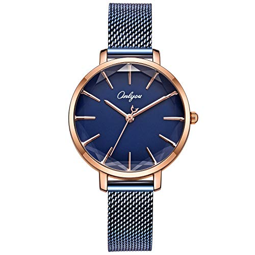 ONLYOU Women's Fashion Watches,Unique Face Design and 30M Waterproof,Analog Quartz Wristwatches with Stainless Steel Mesh Band (Blue) by onlyou (Image #1)'