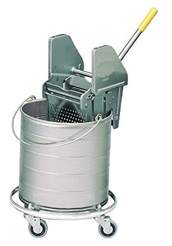 Royce Rolls Stainless Steel 8-Gallon Round Mop Bucket and 16-24 oz. Mop Wringer Combo on 3'' Casters - #428 by Royce Rolls