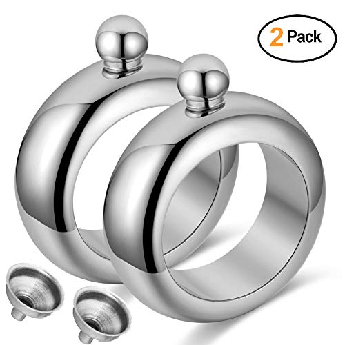 Qingo Bracelet Flask Bangle Hip Flask Stainless 304 Steeland Hip Flask Funnel Set 3.5 oz. 2 pcs (2 PCS Sliver)