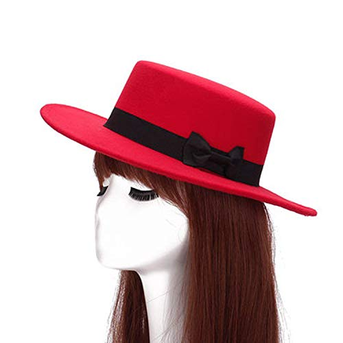 (New Wool Boater Flat Top Hat for Women's Felt Wide Brim Fedora Hat Laday Prok Pie Chapeu de Feltro Bowler Gambler Top Hat,4)