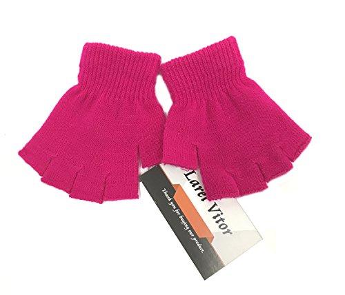 Fingerless Winter Gloves Knitted Fleece Lined Mittens Half Finger Knitted Magic Stretch Gloves Unisex Kids(Rose - Fleece Stretch Mittens