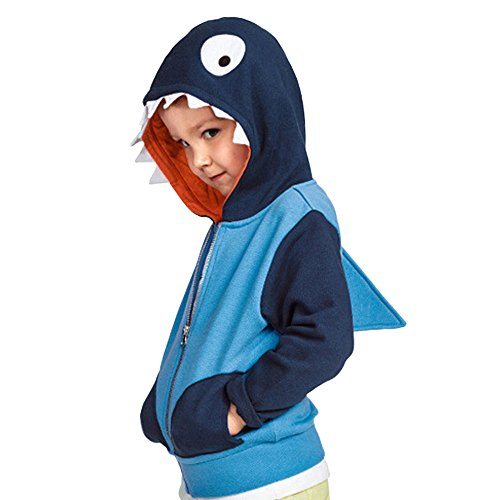 Unisex Baby Autumn Winter Shark Hooded Sweatshirt Infant Hoodies with Shark -