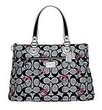 Coach Limited Edition Hearts Signature Glam Shopper Bag Purse Tote 18711 Black White