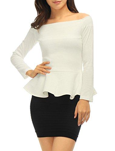 Allegra K Mujer Camiseta con Hombros Descubiertos de Manga Larga con Sobrefalda Blanco