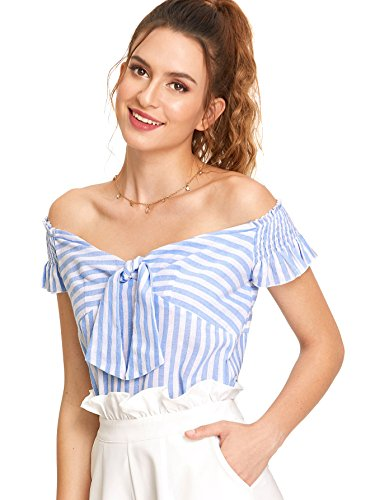 WDIRA Women's Short Sleeve Knot Front Shirred Ruffle Sleeve Bardot Top Blouse Blue XS -