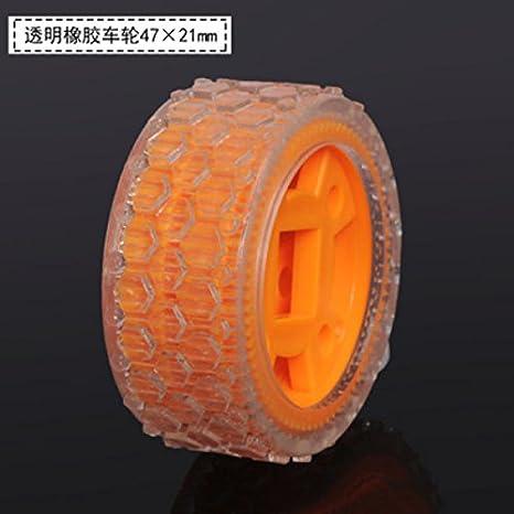 Sangdo 2 * Transparente de goma coche neumáticos ruedas Llantas DIY para Coche Robot Inteligente rueda de coche de tamaño: 47 * 21 mm: Amazon.es: Juguetes y ...