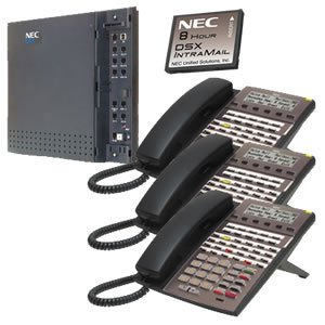 NEC DSX-40 System Kit (1) DSX-40 KSU, (1) 2-port/8-hour Intramail, (3) 34-button Phone Black ()