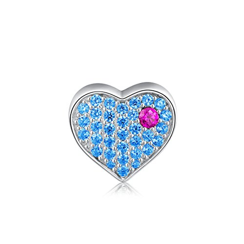 i'ange's You Are In My Heart Sterling Silver Bead Charms, Blue Heart Shape Design Dangle Charms for Bracelets, Best Gift for Women Shape Dangle Charm