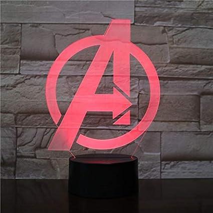 Avengers Logo 7 Color 3D Night Light, Lámpara De Mesilla De Noche ...