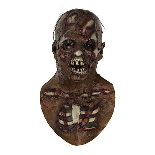 molezu Walking Dead Scary Mask, Resident Evil Monster Mask, Bloody Overhead Zombie Costume Party Latex Mask for Halloween ()