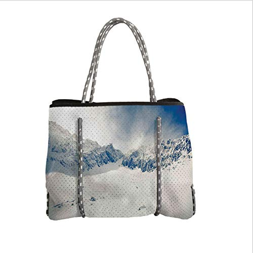 iPrint Neoprene Multipurpose Beach Bag Tote Bags,Winter Decorations,Fantasy Lands on Top of The World with Snowy Cliffs and Stones Alps Decor,White,Women Casual Handbag Tote Bags