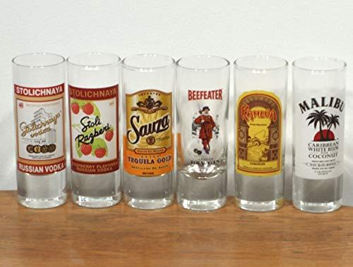 Set Of 6 - Malibu Caribbean Rum, Stolichnaya Russian Vodka & Raspberry Vodka , Beefeater Gin, Sauza Tequila Gold & Kahkua 4