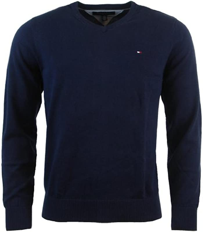 Tommy Hilfiger Męski sweter z dekoltem w serek i długimi rękawami: Odzież