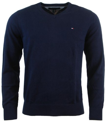 Tommy Hilfiger Mens Long Sleeve Pacific V-Neck Pullover Sweater - L - Navy by Tommy Hilfiger