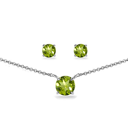 (GemStar USA Sterling Silver Peridot Round Solitaire Choker Necklace and Stud Earrings Set)