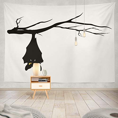 KJONG Halloween Theme Hanging Tree Branch Funny Monster Art Spooky Decorative Tapestry,60X80 Inches Wall Hanging Tapestry for Bedroom Living Room ()