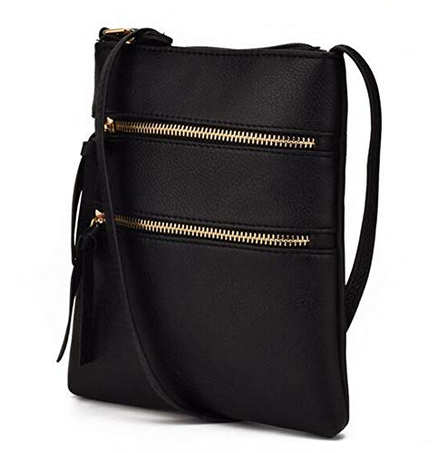 FairyBridal Triple Zipper Mutil-Pocket Leather Messenger Bag for Women,Crossbody Bag 5 Colors Satchel Purse (black(pu leather)) by FairyBridal (Image #1)