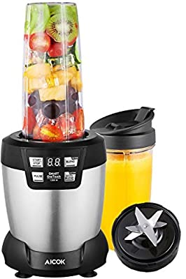 Aicok Smoothie Blender 1200 Watt, Personal Blender with Two Large Tritan Travel Cups(1*35 oz and 1*28 oz), 28,000RPM High Speed Professional Blender for Shakes and Smoothies, LED Smart One Touch, Silver