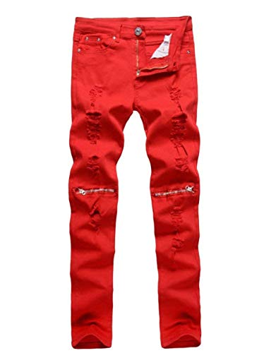 Fashion Fit Marca Vintage Jeans Regular Nero Da Slim Pants Solid Stretch Casual Pantaloni Distrutto Mode Look Denim Di Uomo Color F1q6n6