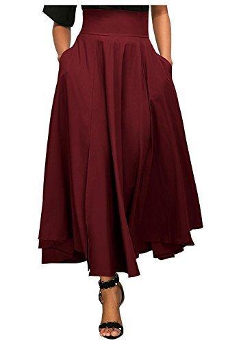 Kumer Women's High Waist Long Skirt Pleated A Line Swing Skirt Front Slit Belted Maxi Skirt