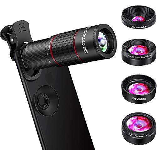 Phone Camera Lens, OVPPH Cell Phone Lens Kits 10 in 1-20X Telephoto Lens + Fisheye Lens + Wide Angle Lens + Macro Lens + Zoom Lens Compatible with iPhone 11 Pro Max X XS Max XR/8/7/6/6s Samsung