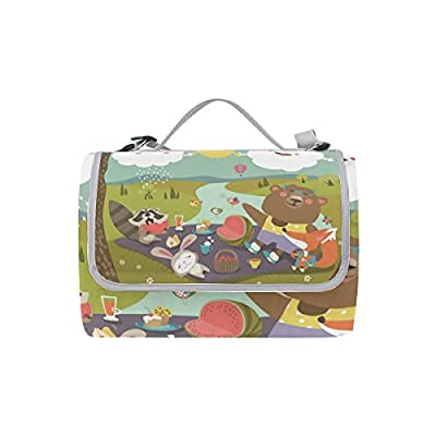 Outdoor Happy Animals Cloud Picnic Mat Rug Water Resistant Foldable Handle Beach Camping Blanket