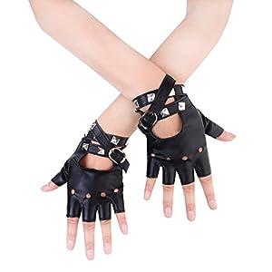 JISEN Women Punk Rivets Belt Up Half Finger PU Leather Performance Gloves Black