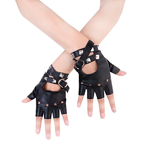 JISEN Women Punk Rivets Belt Up Half Finger PU Leather Performance Gloves Black -