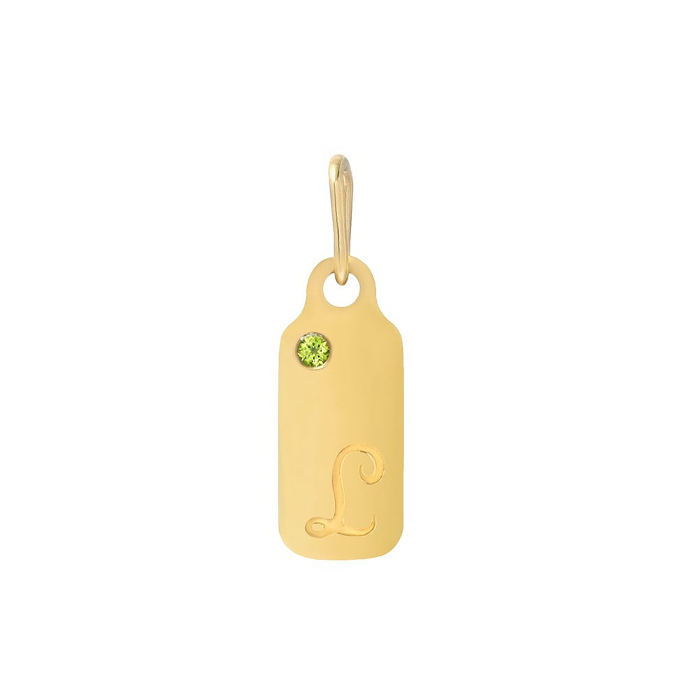 14k Gold Peridot August Birthstone Cursive Letter L Dog-tag Necklace