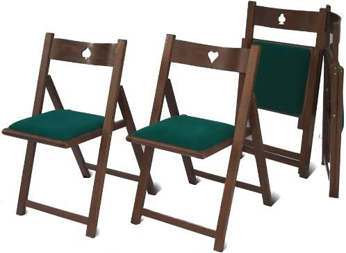 Del Fabbro 1 Set of 4 Folding Gaming Chairs, Painted Walnut, No