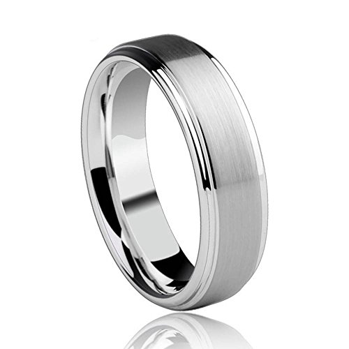 6mm Tungsten Carbide Wedding Band Engagement Ring for Men Women-Matte Finish Center-Rounded Smooth Interior Comfort Fit