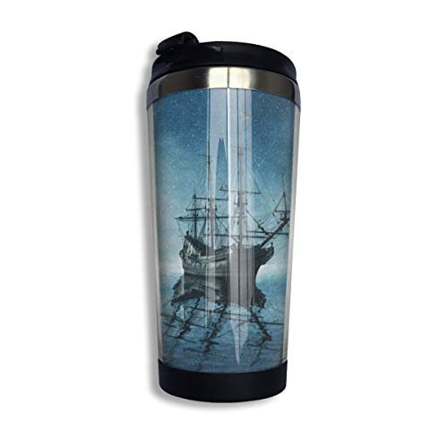 - Travel Coffee Mug Ghost Pirate Ship Starry Night Ocean Sea Coffee Cup Thermos With Quick Seal Lid Stainless Steel Insulated Tumbler