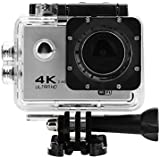 Acouto Action Camera 16M 4K 2.4G Wifi Waterproof Sports Cam 170°Wide Angle with Waterproof Housing Case and Remote Control Accessories Kits (Silver)