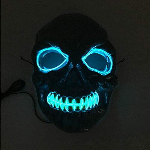 DICPOLIA Toy Halloween Costume Mask Luminous Skull Full Face Mask Horror Skeleton Cosplay Masquerade Scary LED Light Flashing Mask Glow in Dark for Carnival Festival Party (As Shown) -