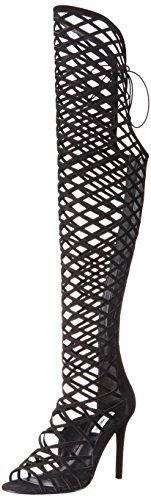 Image of Steve Madden Women's Silk Dress Sandal, Black Nubuck, 9 M US
