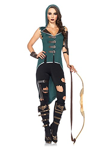 Leg Avenue Women's 5 Piece Rebel Robin Hood Costume, Black/Green, Large