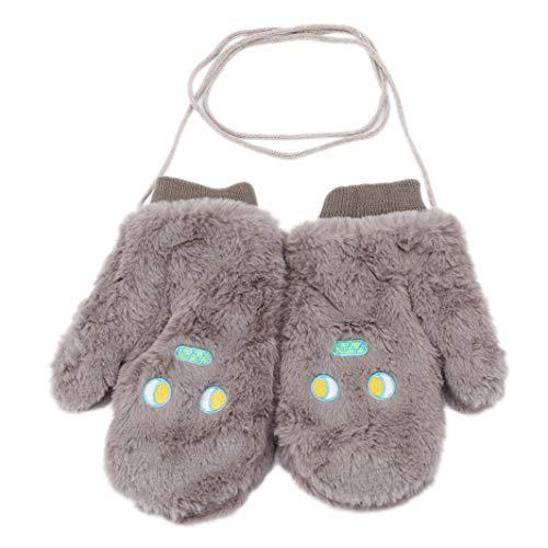 YouCY Halter Gloves Women Cute Winter Velvet Thick Plush Hanging Neck Gloves Cartoon Warm Students Mittens Outdoor Plush Gloves,Gray