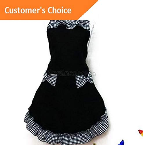 Kaputar US Women Bib Apron Dress Cute Kitchen Bowknot Flirty with Pocket Cooking Aprons | Model-485