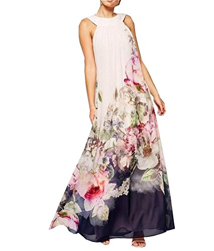 Floral Womens Aspicture Dress Sleeveless Evening Comfy Long Slim ZPqwz
