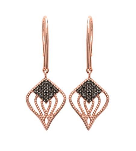 Boucles d'Oreilles Pendantes en Plaqué Or Rose et Losange en Oxyde de Zirconium Noir - Bijoux Femme