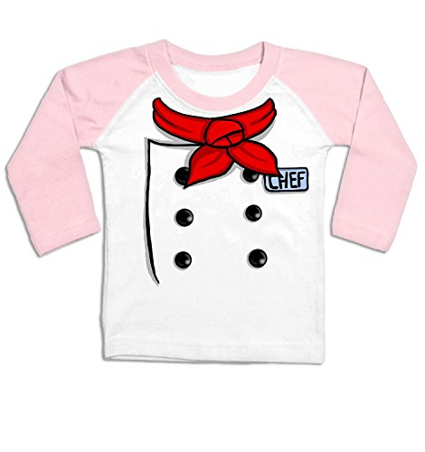 [Chef Costume Long Sleeve Baby Baseball T-shirt - White/Pale Pink 0/6 Months] (Baby Chef Costumes)