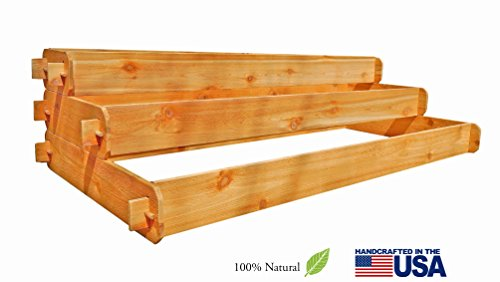 Timberlane Gardens Raised Bed Kit Large 3 Tiered (1x6 2x6 3x6) Western Red Cedar Elevated Planter with Mortise and Tenon Joinery 3' x 6'