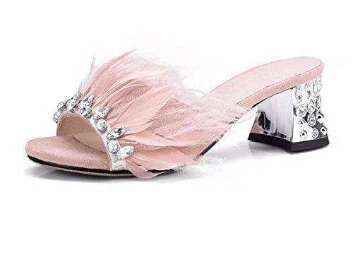 Taladro Cool Antideslizante de Arrastrando Desgaste Pink Talon Agua Palabra Vacaciones Hembra GTVERNH Zapatillas De Tacón Medio Rough Arrastre Zapatos Verano Mujer q6x5ZAt