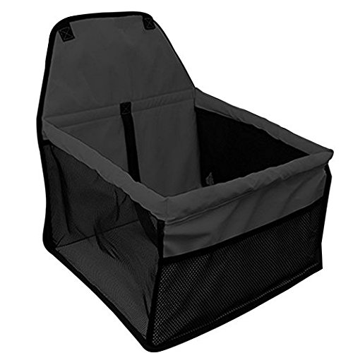 DAN Pet Booster Seat Dog Cat Cage Comfort Travel Waterproof Foldable Safety Car Front or Rear Seats with Seat Belt Tether (Black) For Sale
