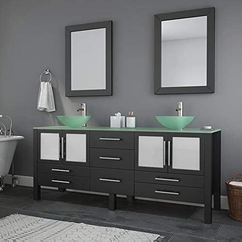 71 Inch Espresso Modern Bathroom Double Vanity Set-Lafayette Brushed Nickel Faucet