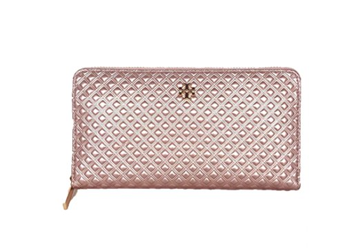 Embossed Leather Metallic (Tory Burch Marion Rose Gold Metallic Embossed Leather Zip Around Wallet)