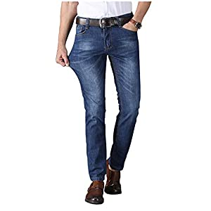 Men's Jeans Regular Straight Fit Denim Stretch Business Work Pants Comfy